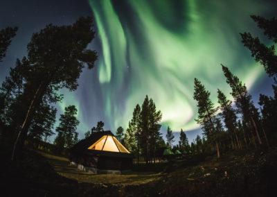 Northern lights resort Aurora Village in Ivalo Lapland Finland.