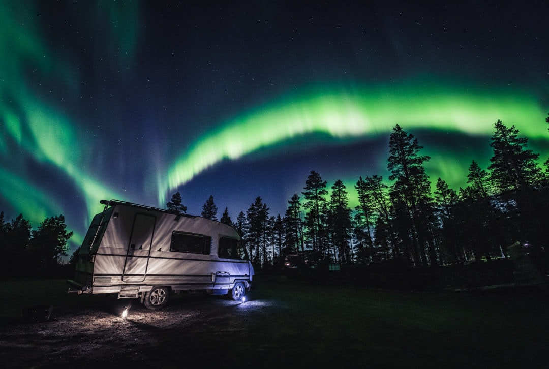 Aurora Camper tour hunting the northern lights with Aurora Village Ivalo Inari Lapland Finland.