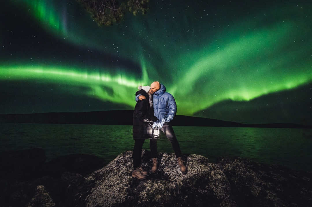 Honeymoon under the Northern Lights at Aurora Village in Ivalo Lapland Finland.