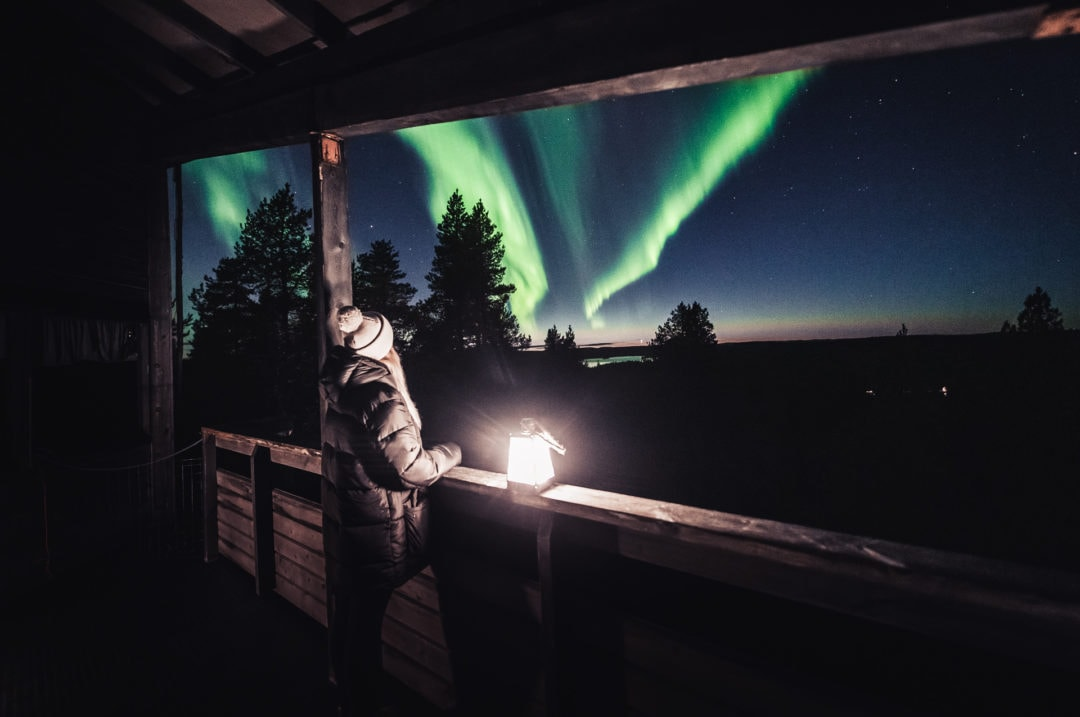 See Northern Lights at Aurora Village Ivalo Lapland Finland.