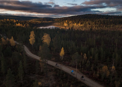 Fatbiking in the nature. Beautiful Autumn colours! Tour with Aurora Village Ivalo Lapland Finland.