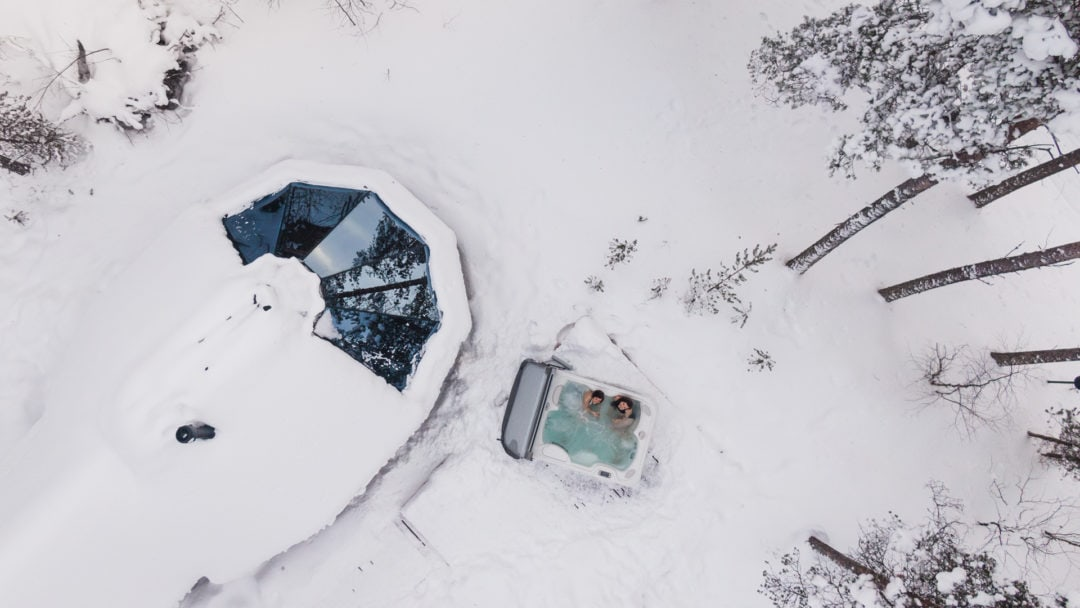 Aurora Sauna from the air in Ivalo Lapland Finland.