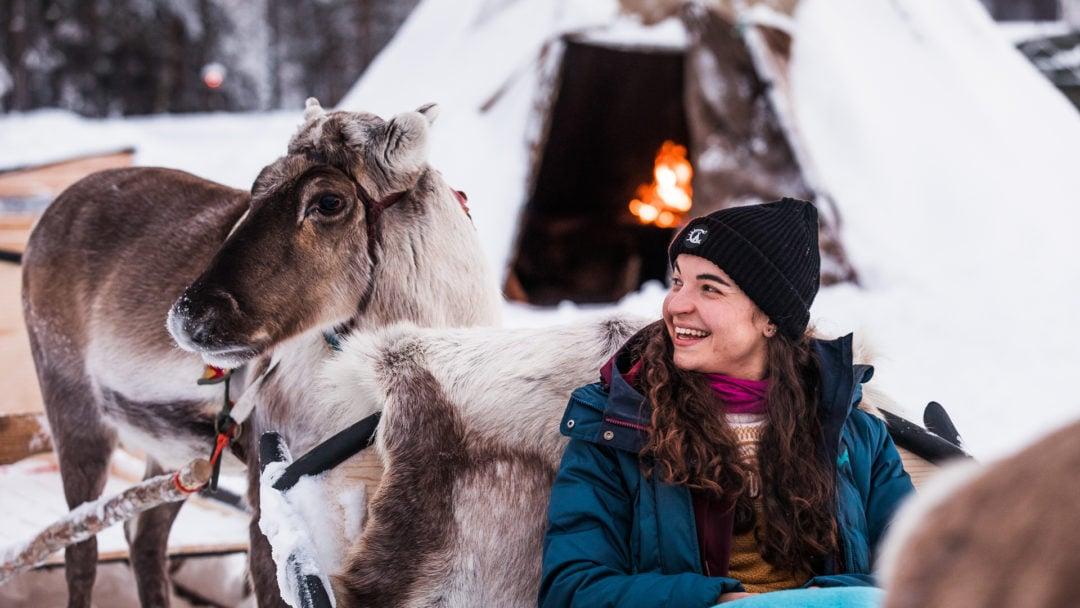 Aurora Village Winter 2019 Ivalo Lapland Finland. Reindeer tour starting.