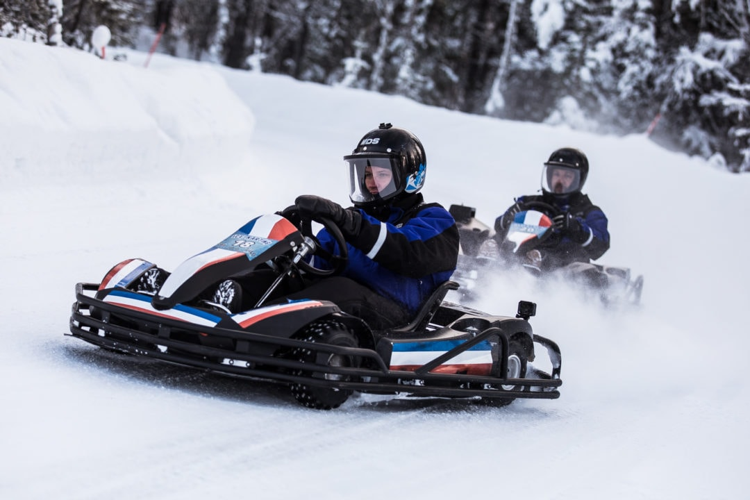 Cruising on the ice karting track in Ivalo Lapland Finland.