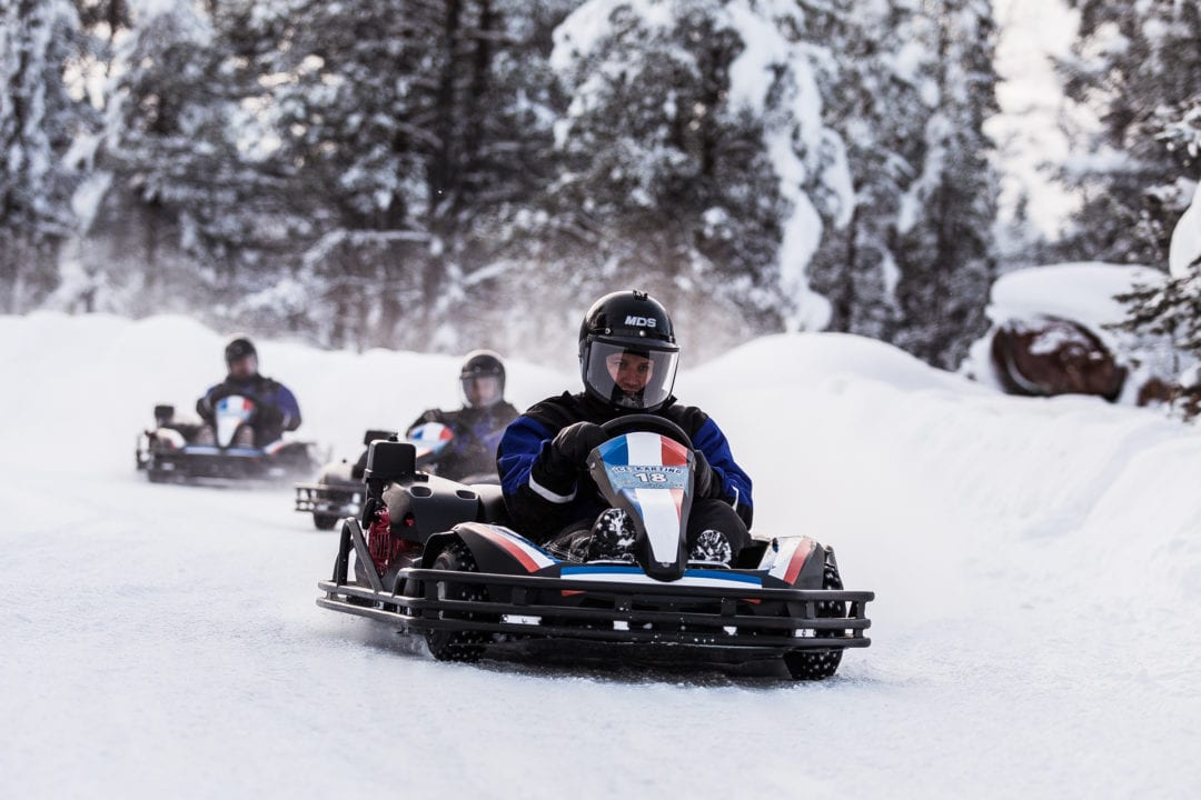 Ice Karting is a fun experience at Aurora Village Ivalo Lapland Finland.