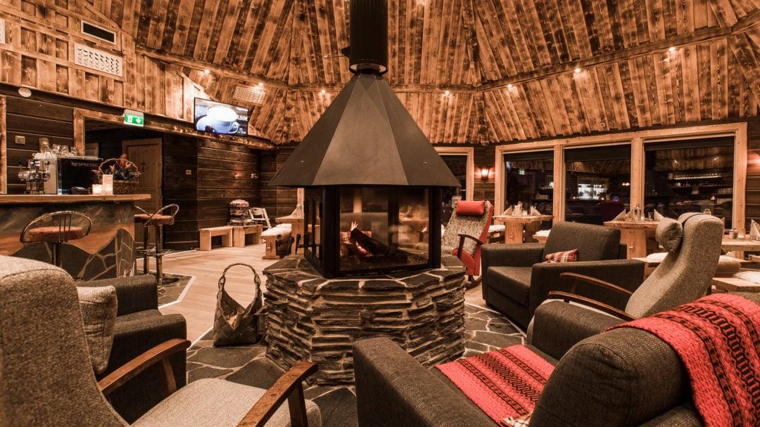 Inside the main restaurant at Aurora Village Winter 2019 Ivalo Lapland Finland.