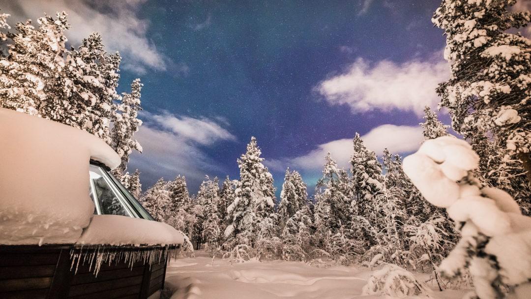 Night view at the Aurora Village Ivalo Lapland Finland.
