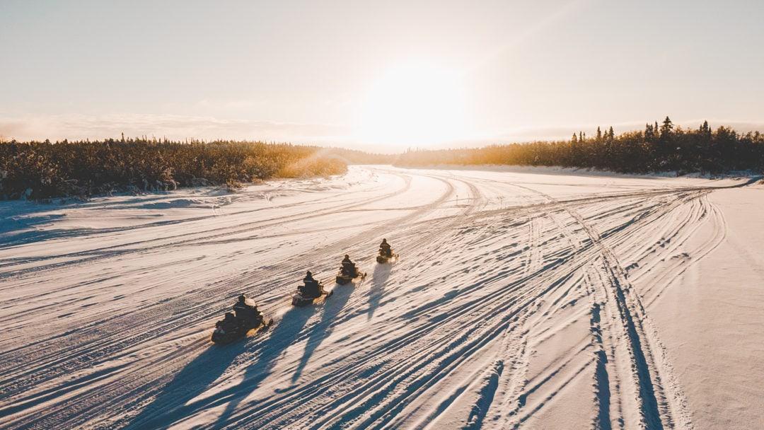 Snowmobile trip at Aurora Village Winter 2019.