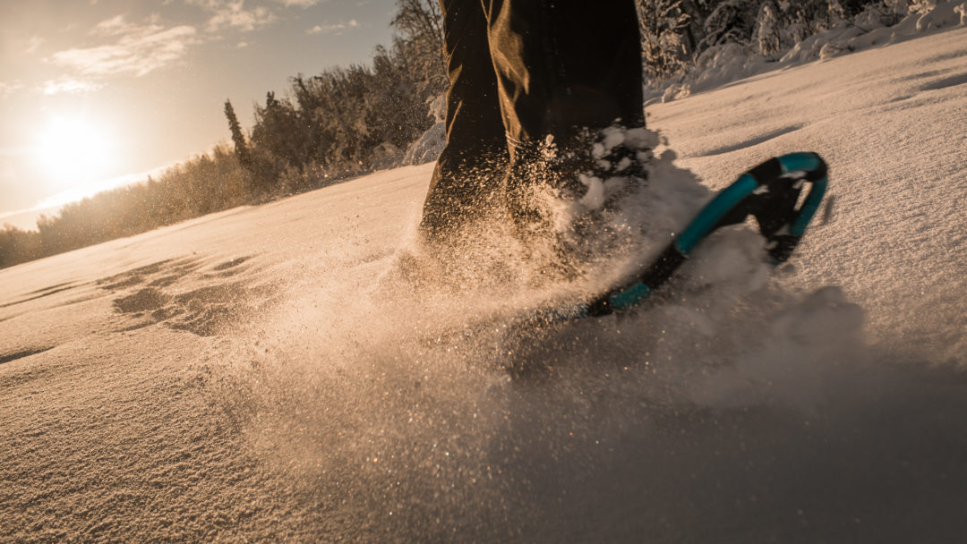 Snowshoeing in the pure snow at Aurora Village Ivalo Lapland Finland.