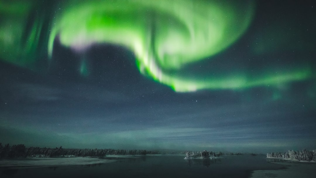 Northern Lights in Ivalo Lapland Finland.