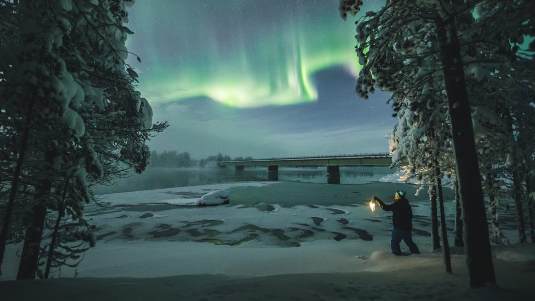Seeing Northern Lights in Nellim Ivalo Lapland Finland.