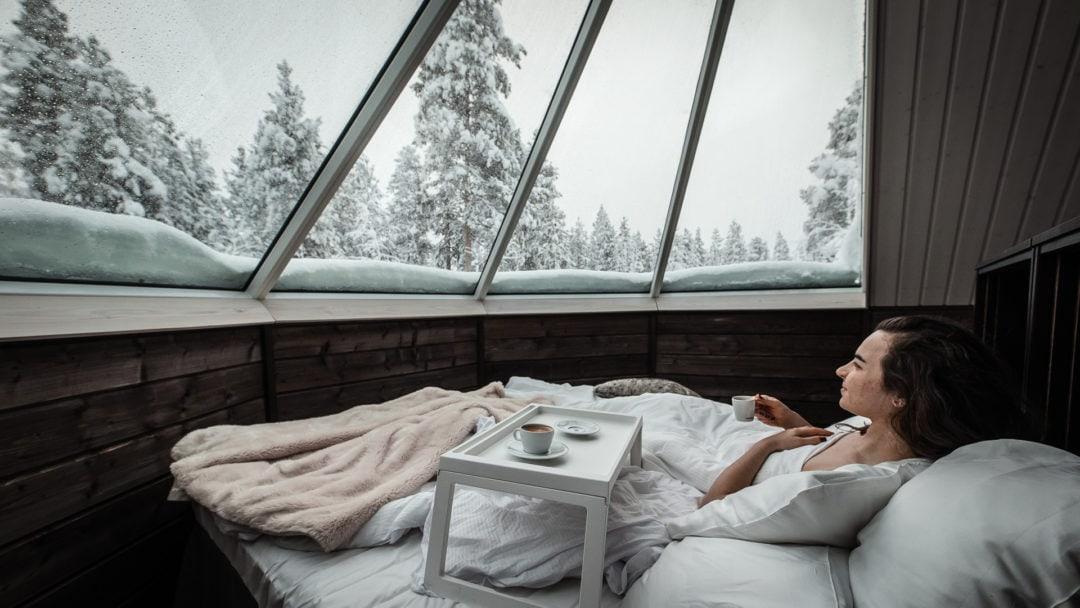 Waking up at the Aurora Igloo Ivalo Lapland Finland.