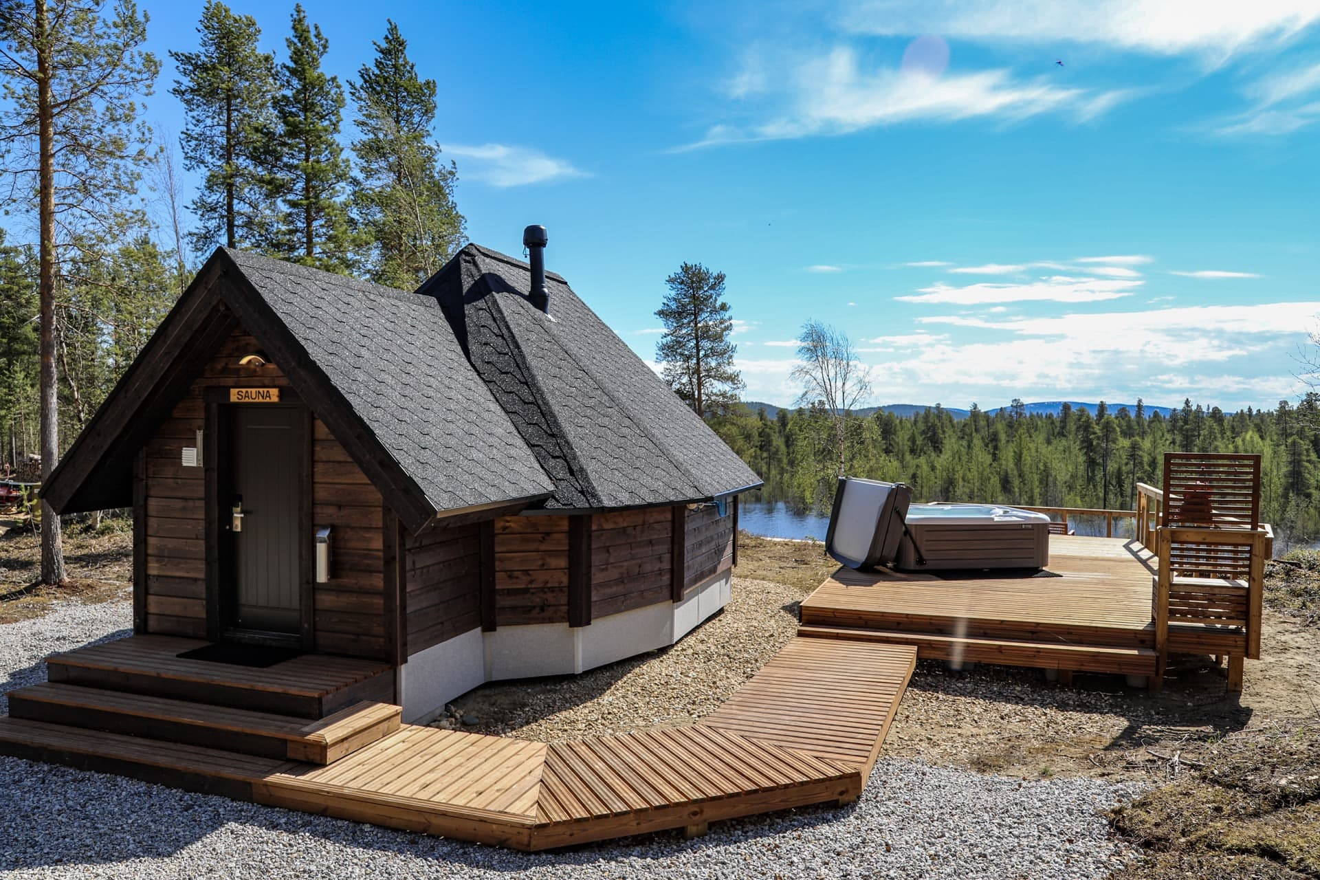 Enjoying winter at the Aurora Village Ivalo Lapland Finland.