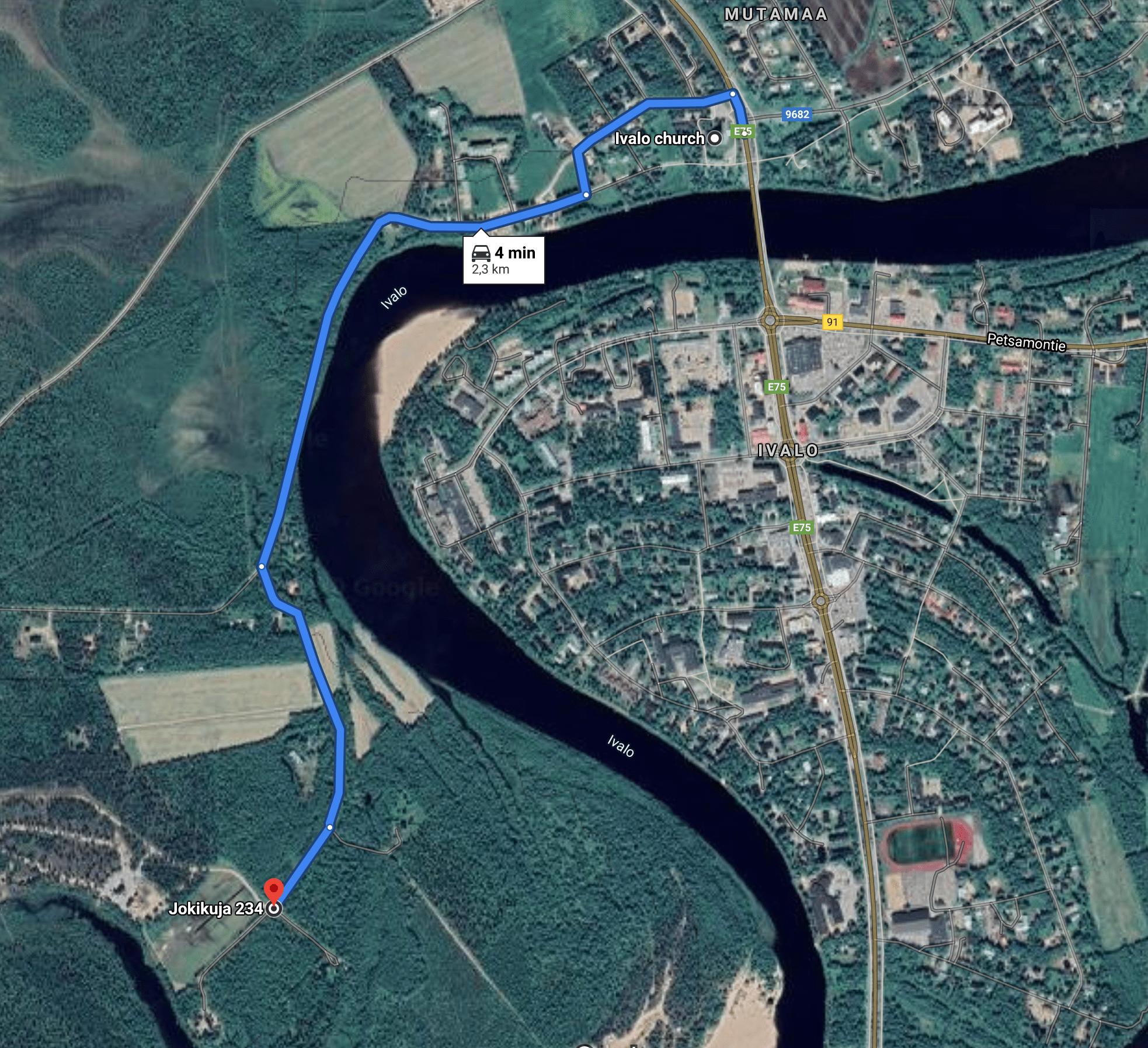 Kartta Ivalosta Aurora Villageen